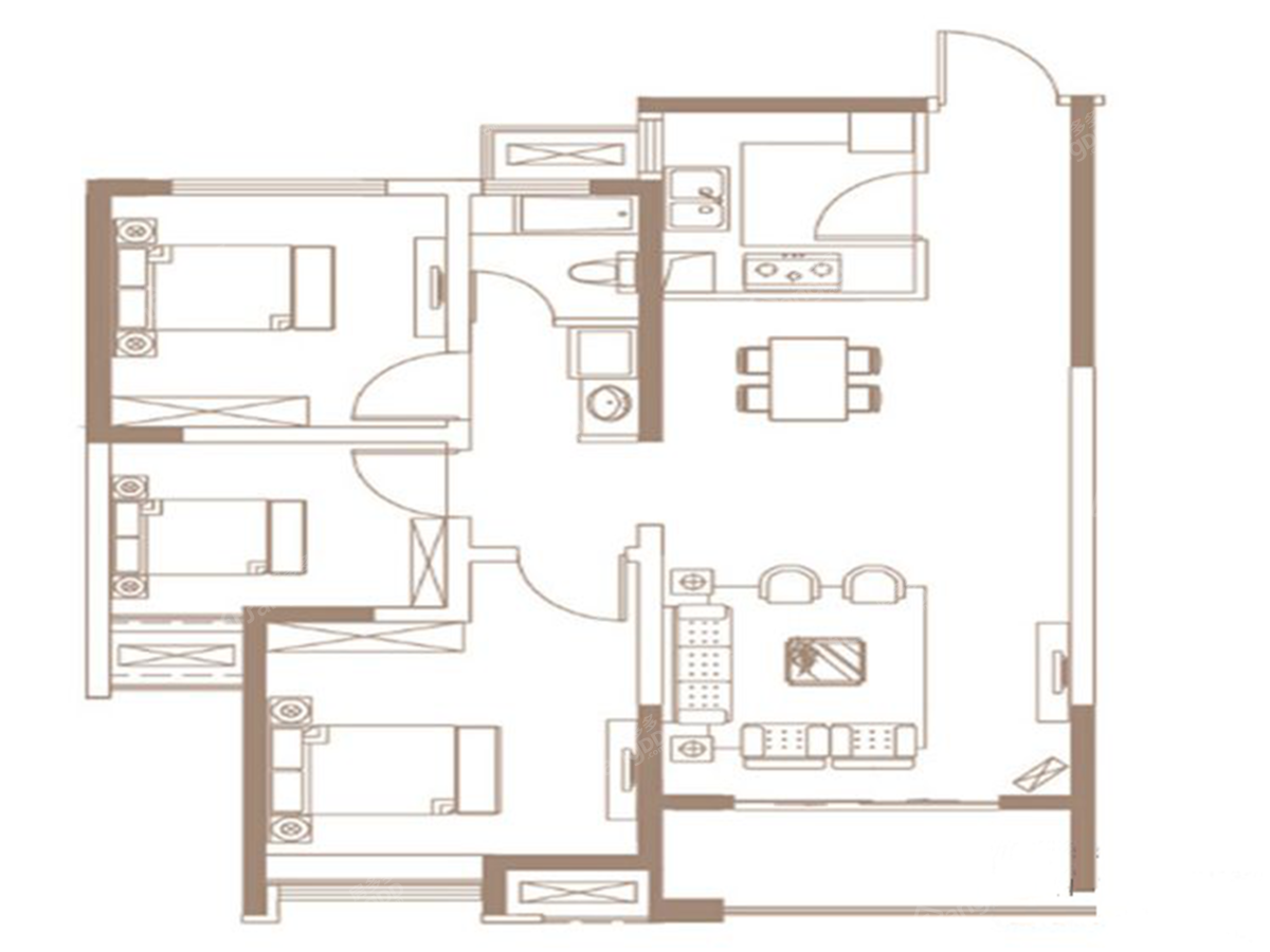 汉德九洲城3室2厅1卫户型图