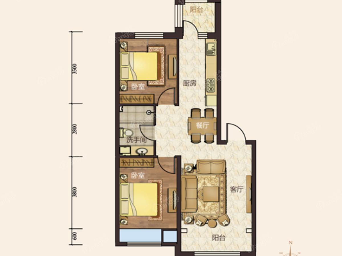 汇宏悦澜湾2室2厅1卫户型图