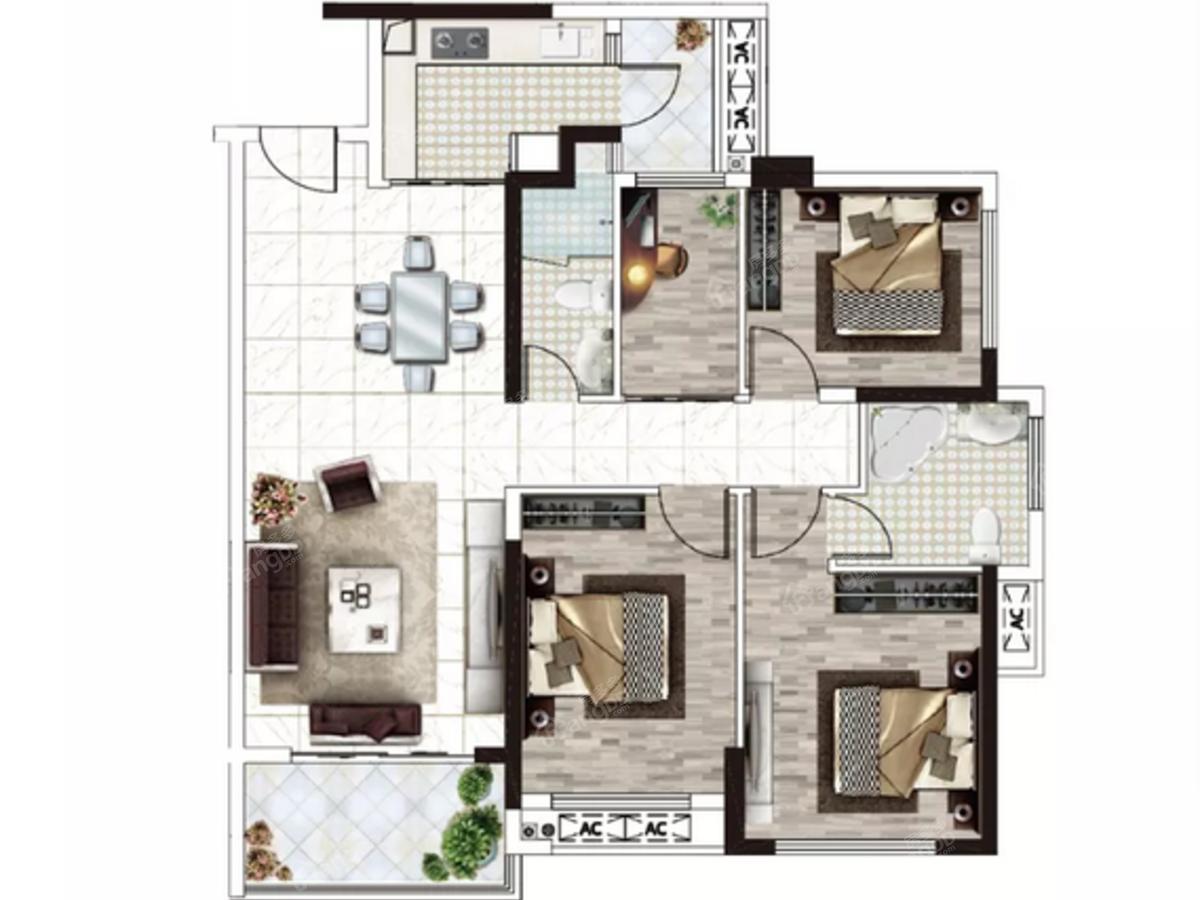 新宇·金康苑4室2厅2卫户型图