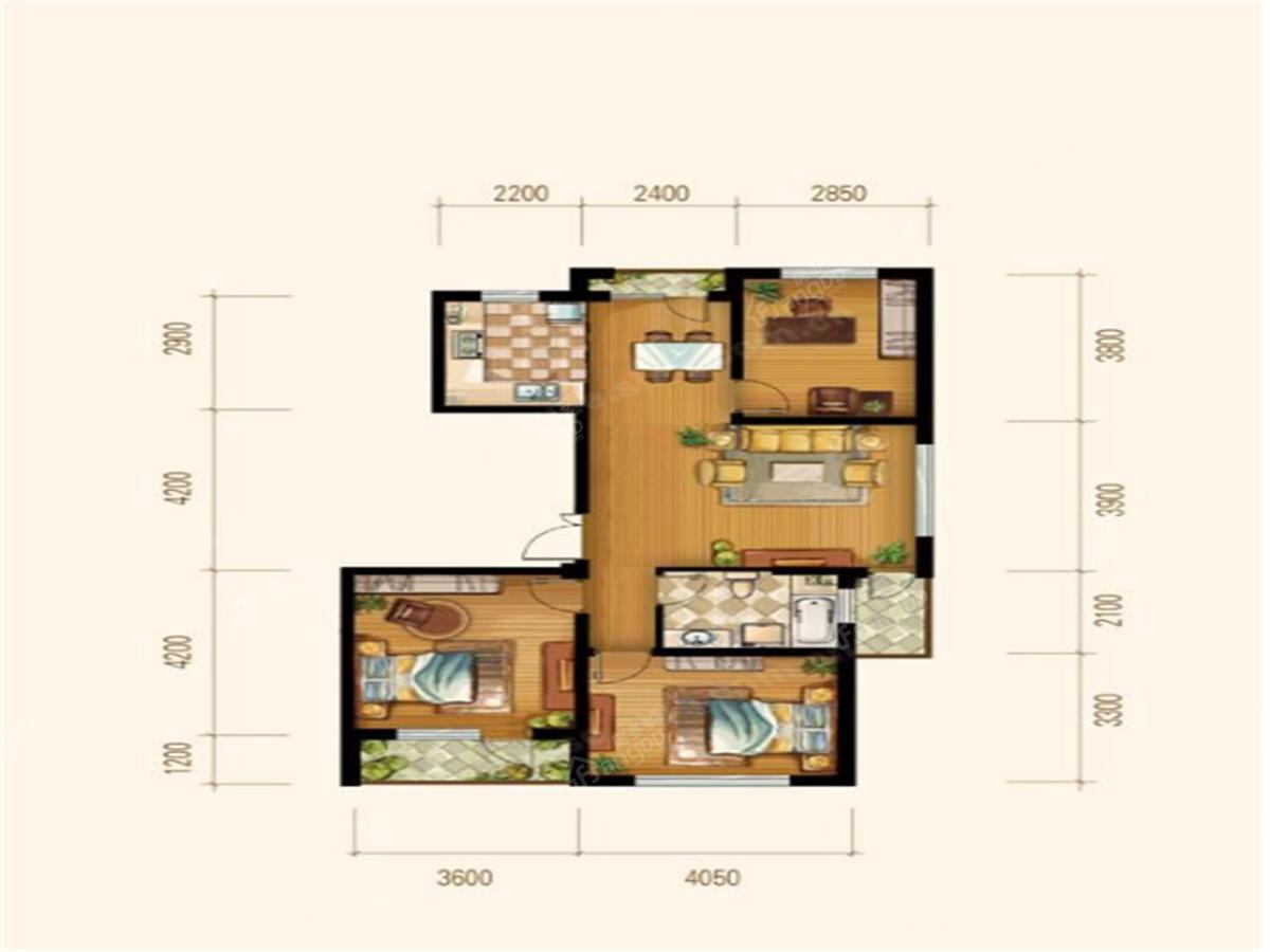 博泰花园3室1厅1卫户型图