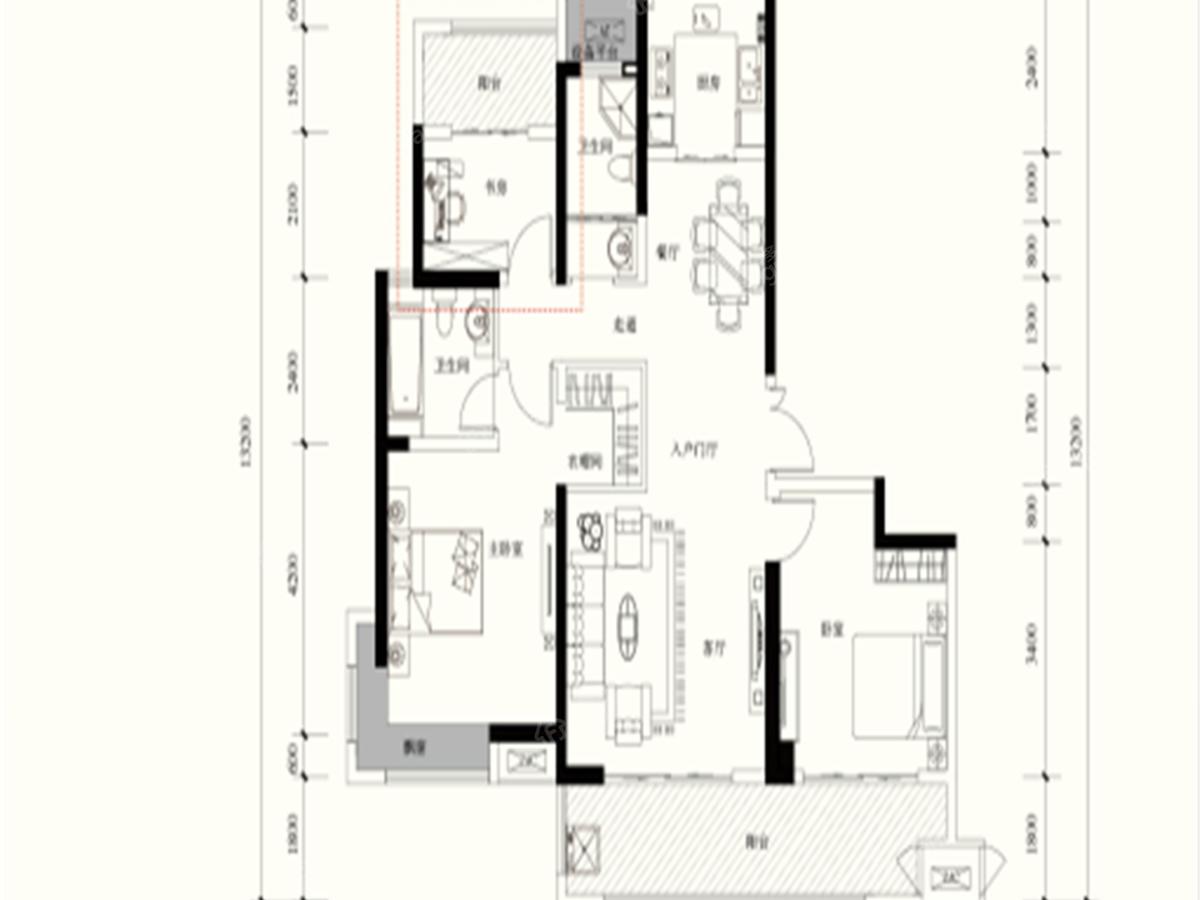 东正·颐和府-壹号院3室2厅2卫户型图