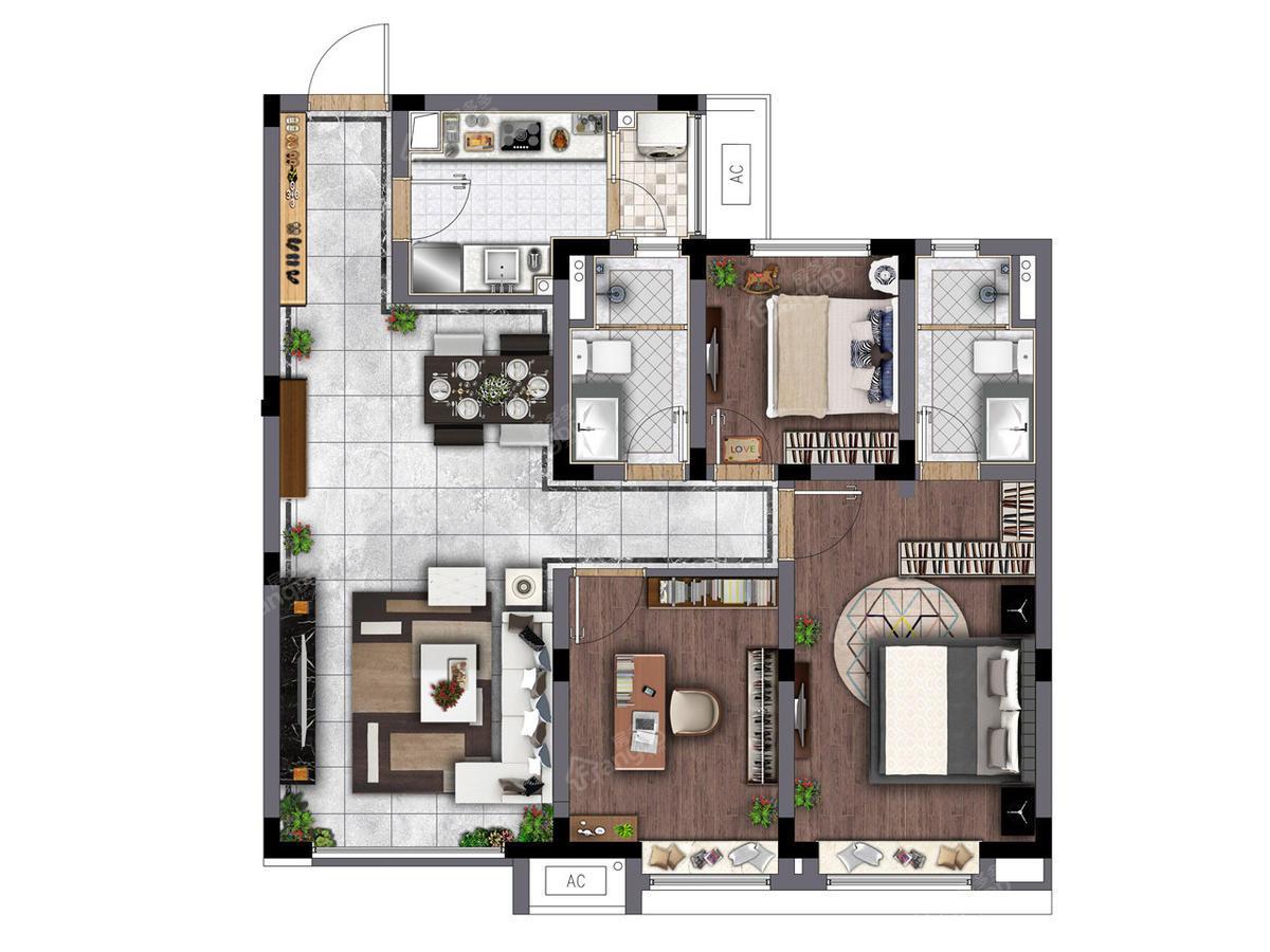 电建地产洺悦府3室2厅2卫户型图