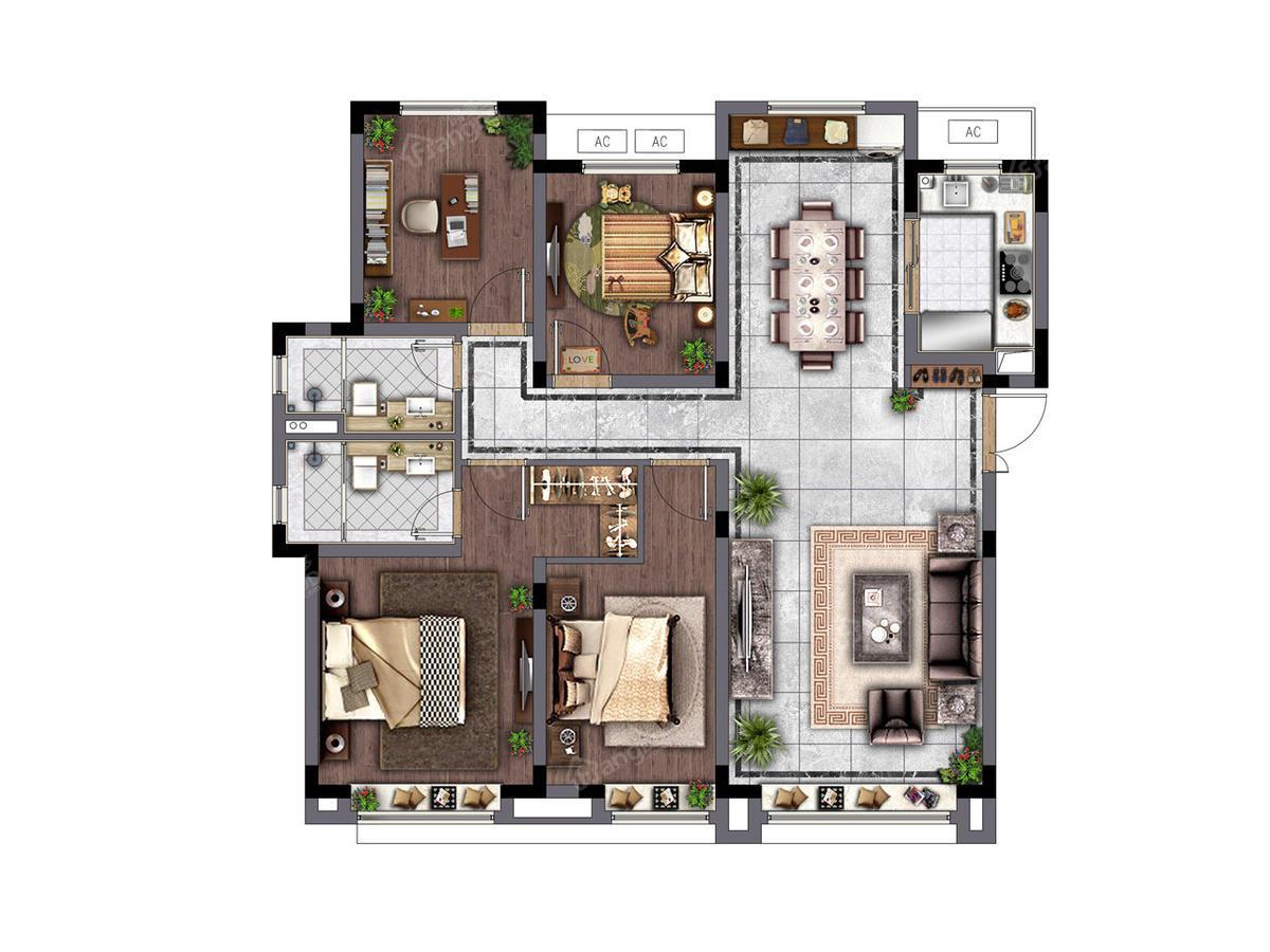 电建地产洺悦府4室2厅2卫户型图
