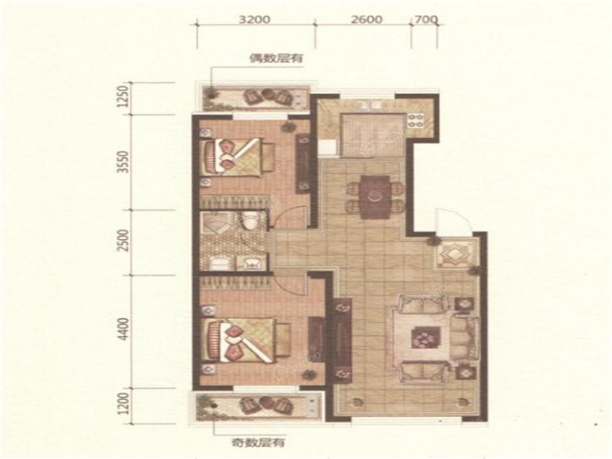 欧洲城2室2厅2卫户型图