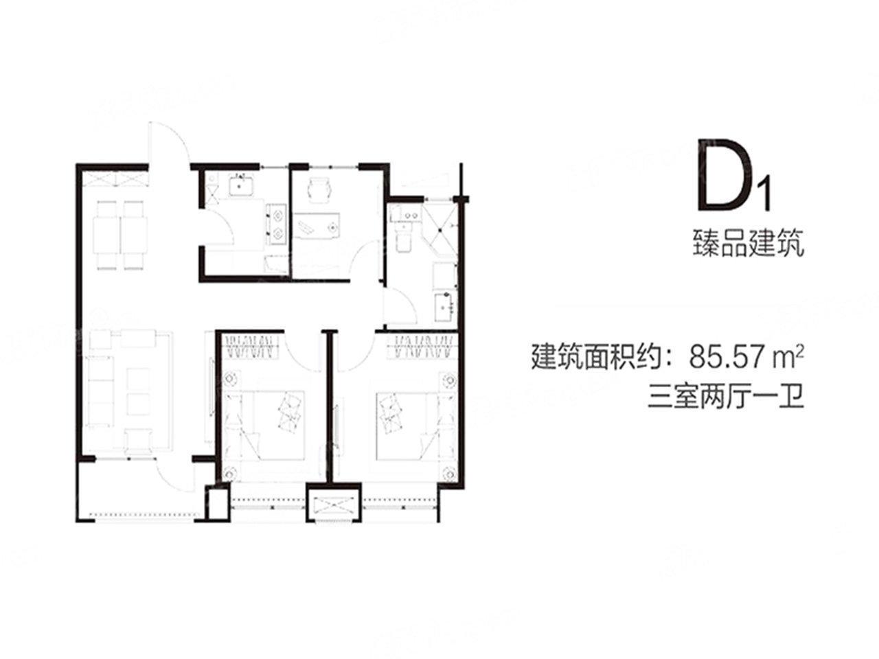 永清融创城3室2厅1卫户型图