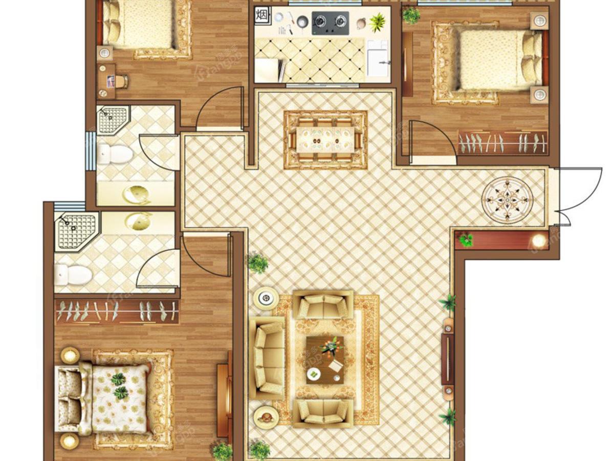 瑞江花醍香域4室2厅3卫户型图