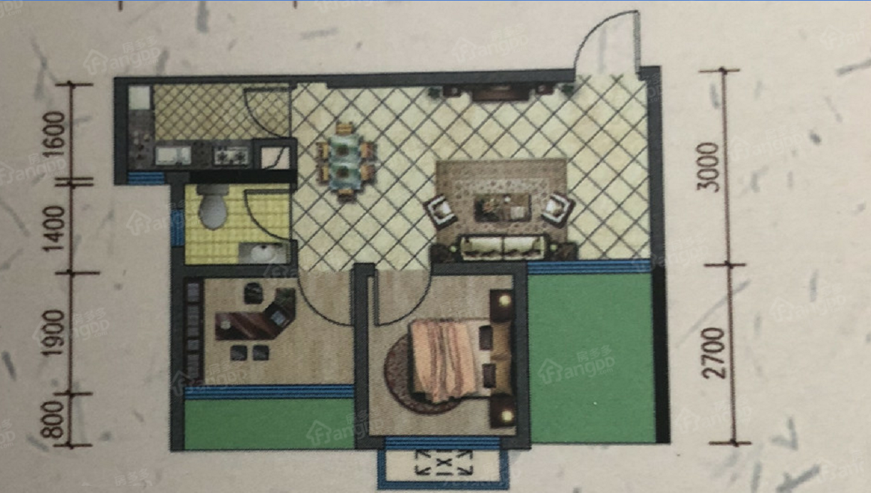 金星天下城1室1厅1卫户型图