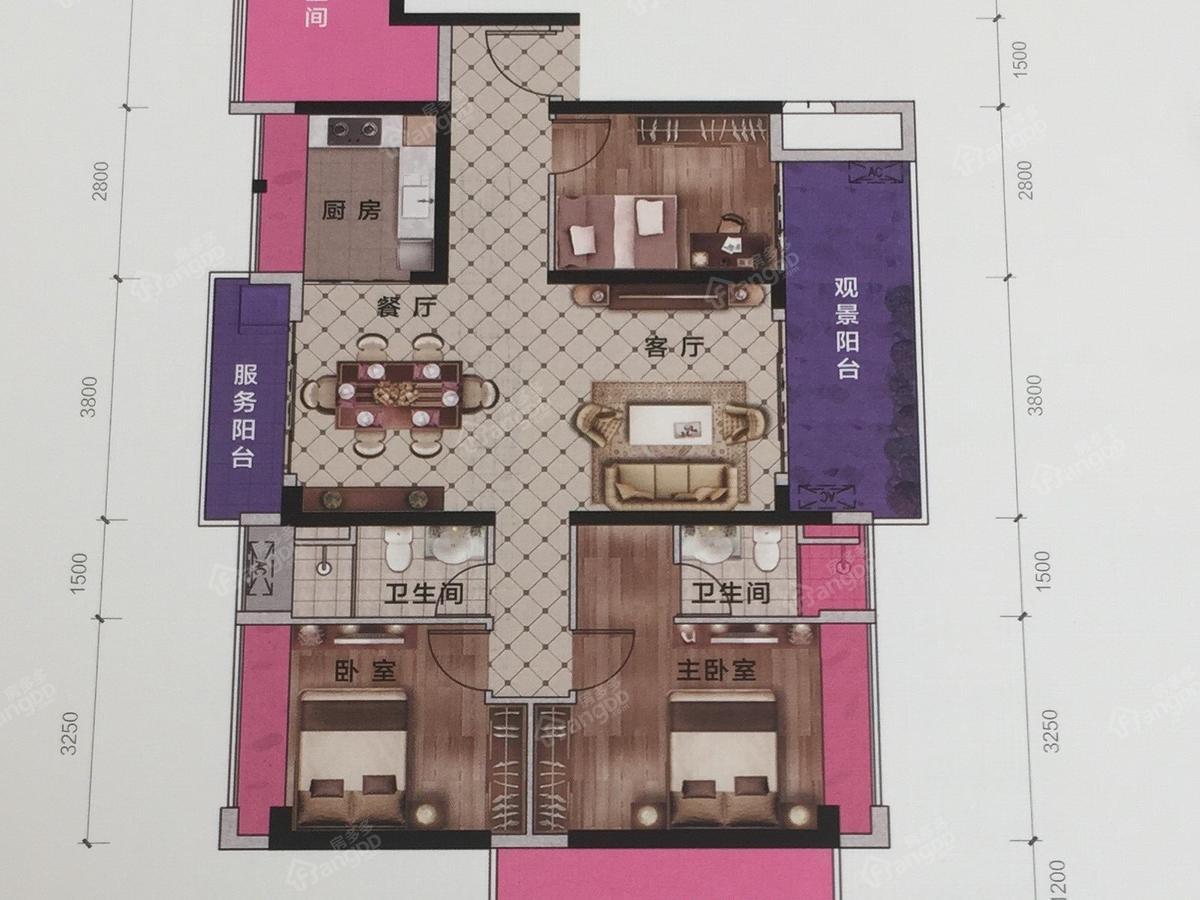 幸福丽舍5室2厅2卫户型图