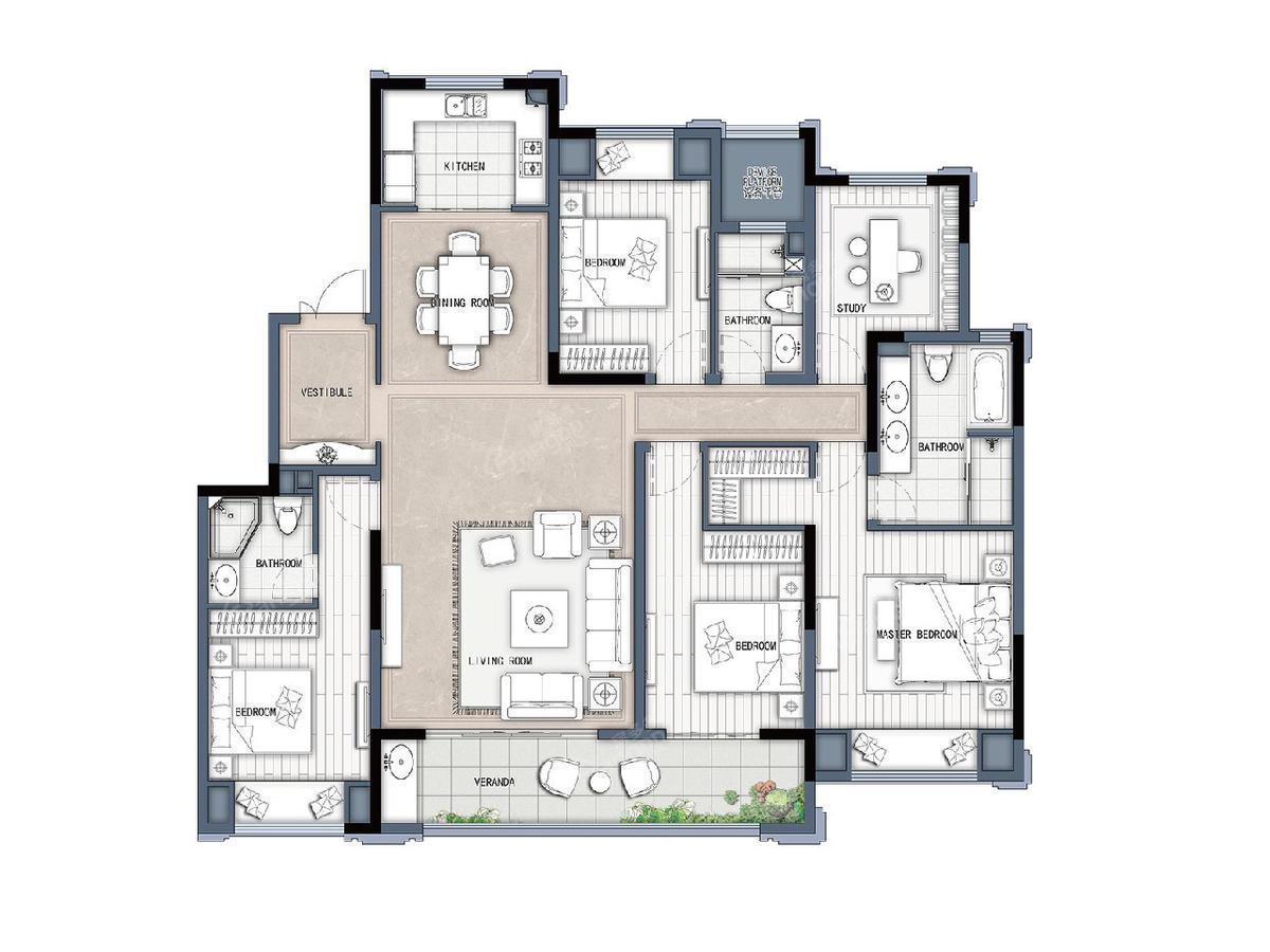 新城牡丹公园世纪/绿都万和城4室2厅3卫户型图