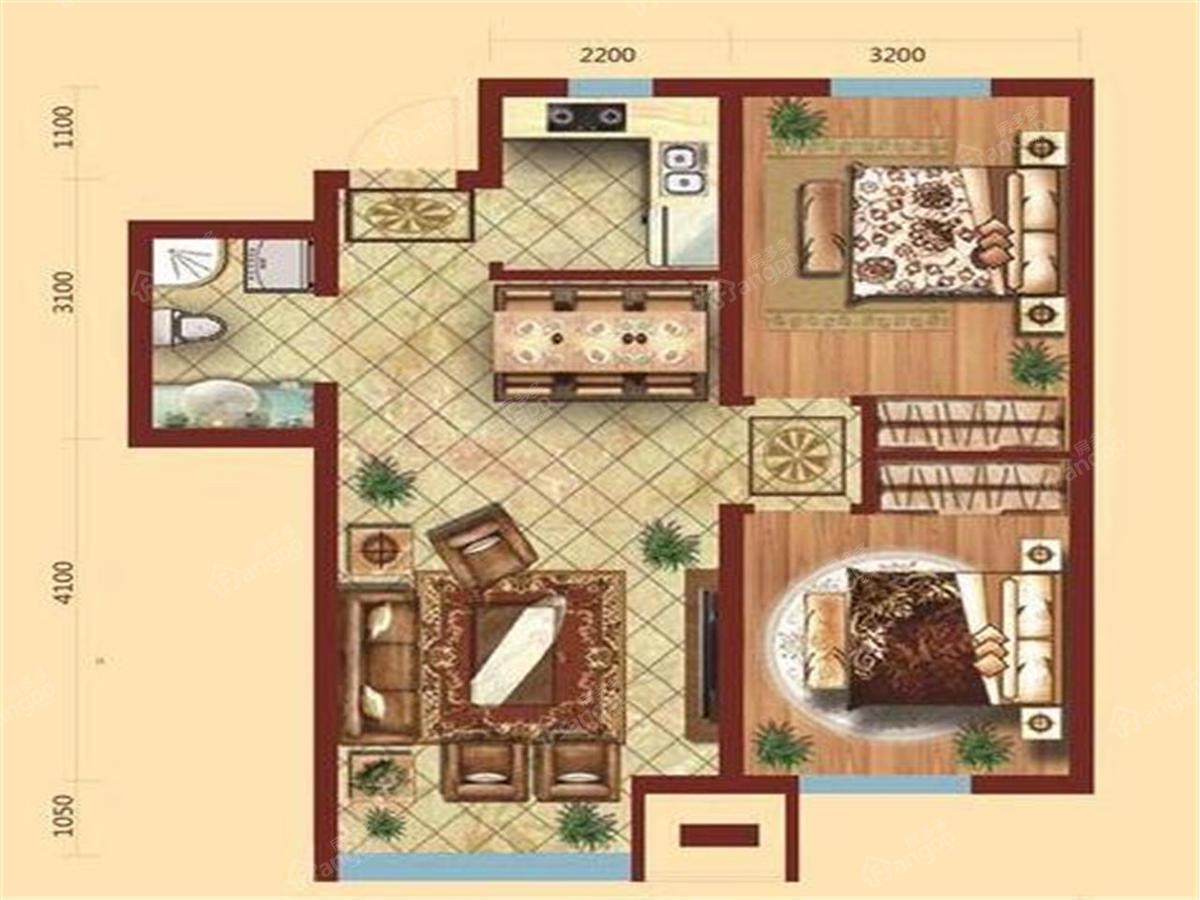 北国明珠2室2厅1卫户型图
