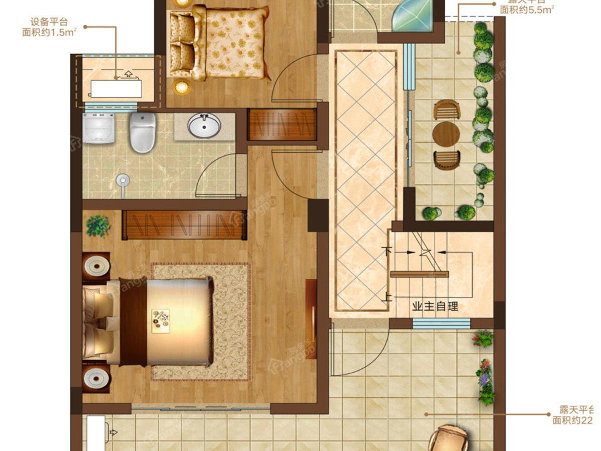 瑞江花醍香域3室2厅2卫户型图