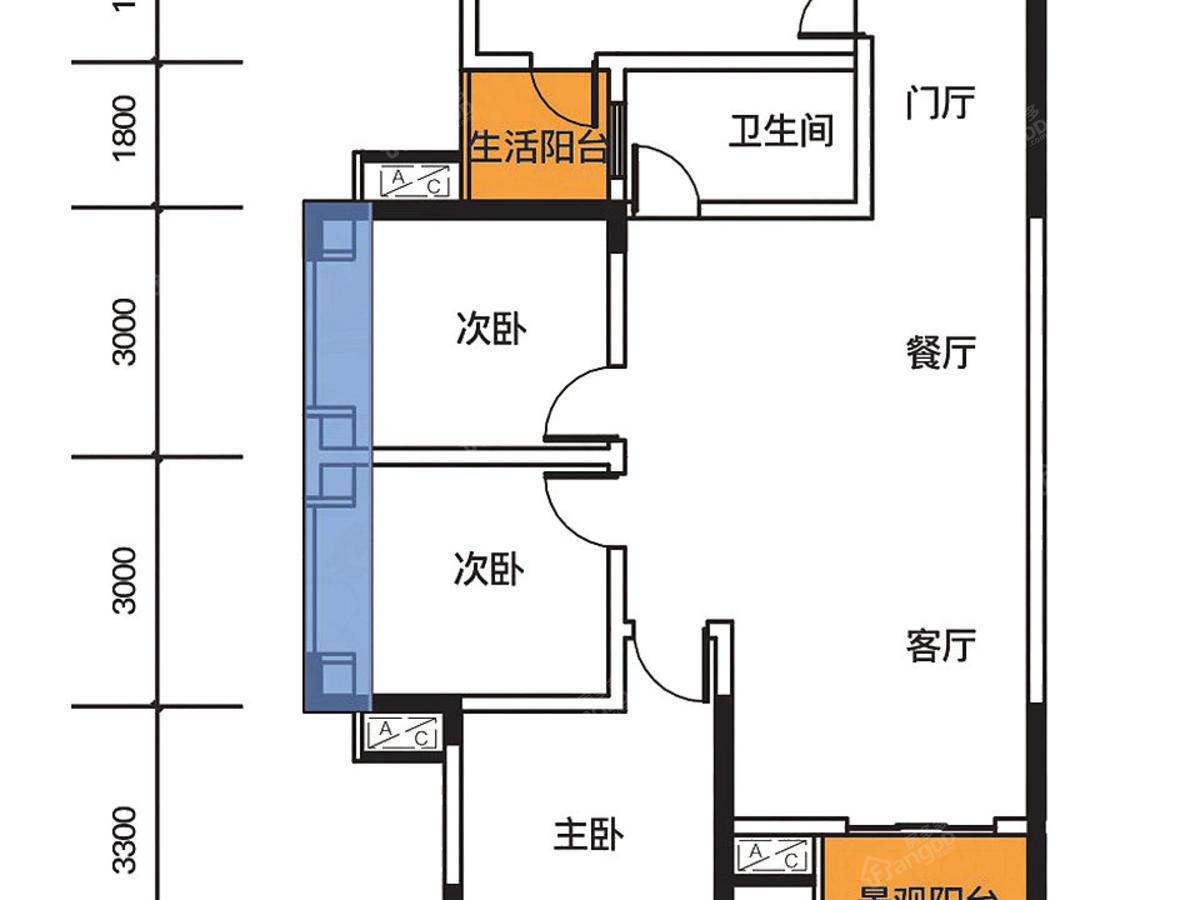 熙山郡3室2厅1卫户型图