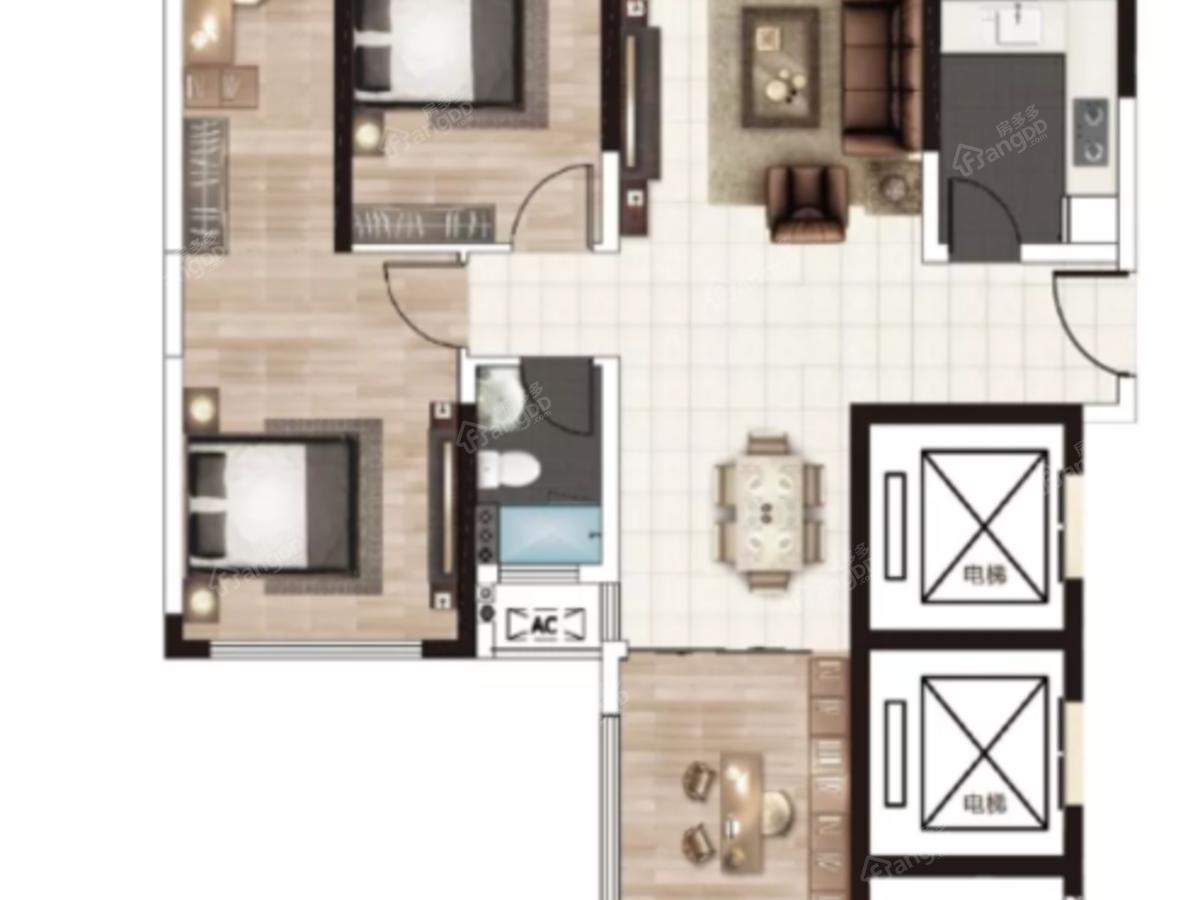 新宇·金康苑3室2厅1卫户型图