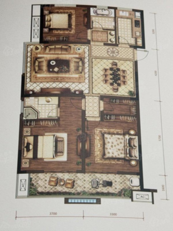 拓基鼎元里3室2厅2卫户型图