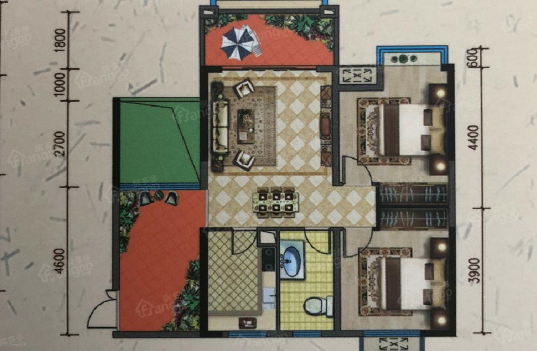 金星天下城2室2厅1卫户型图