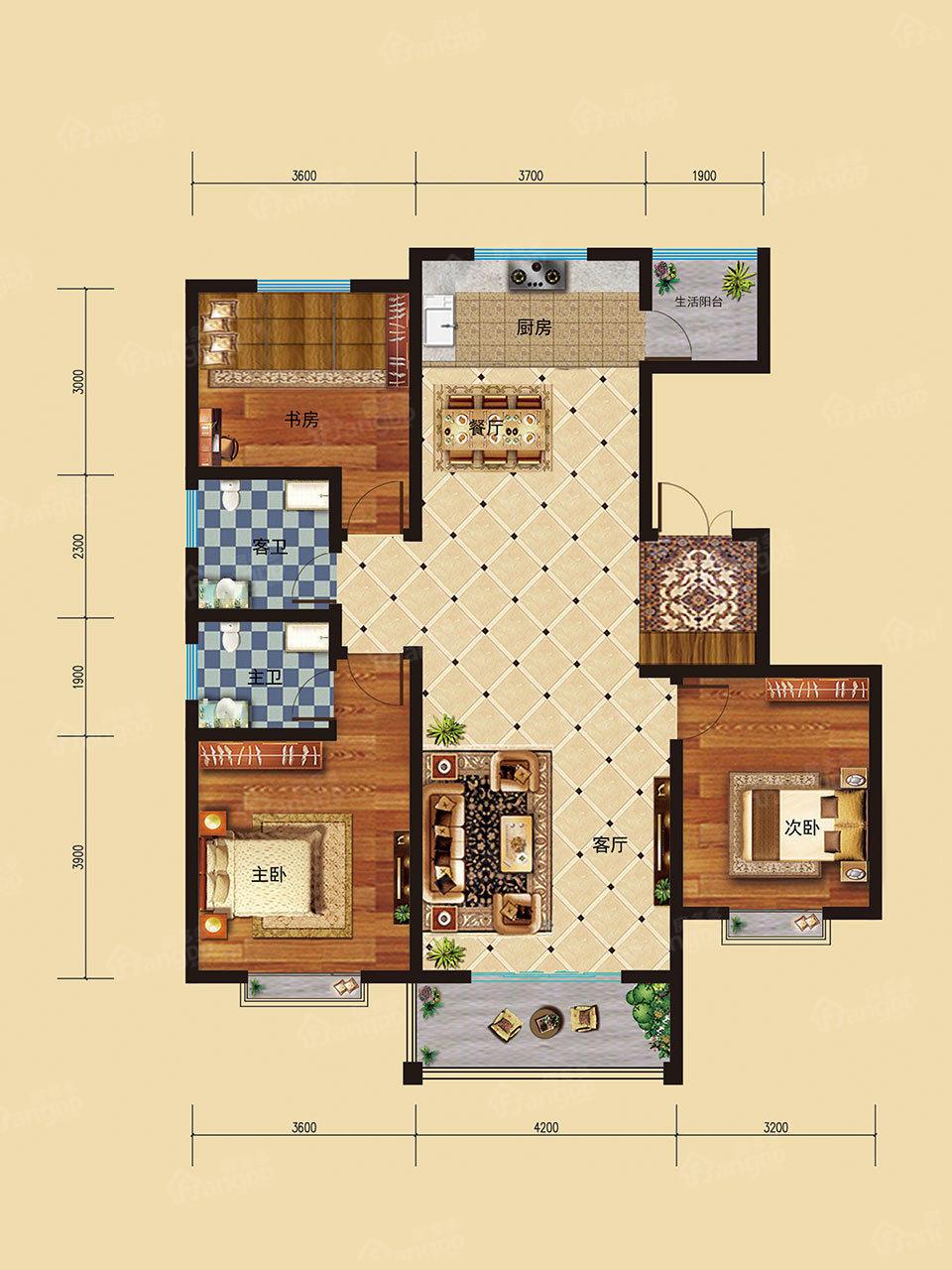 东星·卡纳溪谷3室2厅2卫户型图