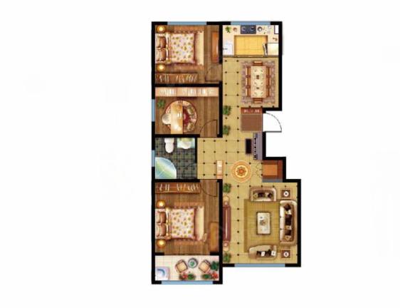 美林山3室2厅1卫户型图