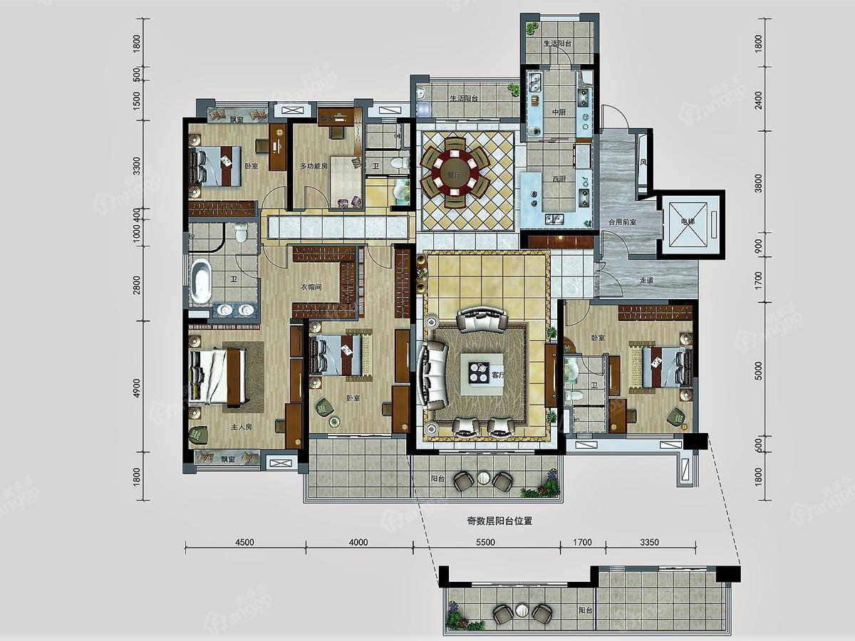 碧桂园5室2厅3卫户型图