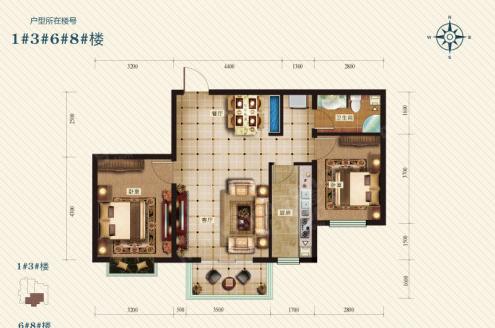 冀东花园2室2厅1卫户型图