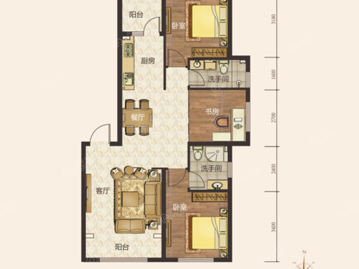 汇宏悦澜湾3室2厅2卫户型图