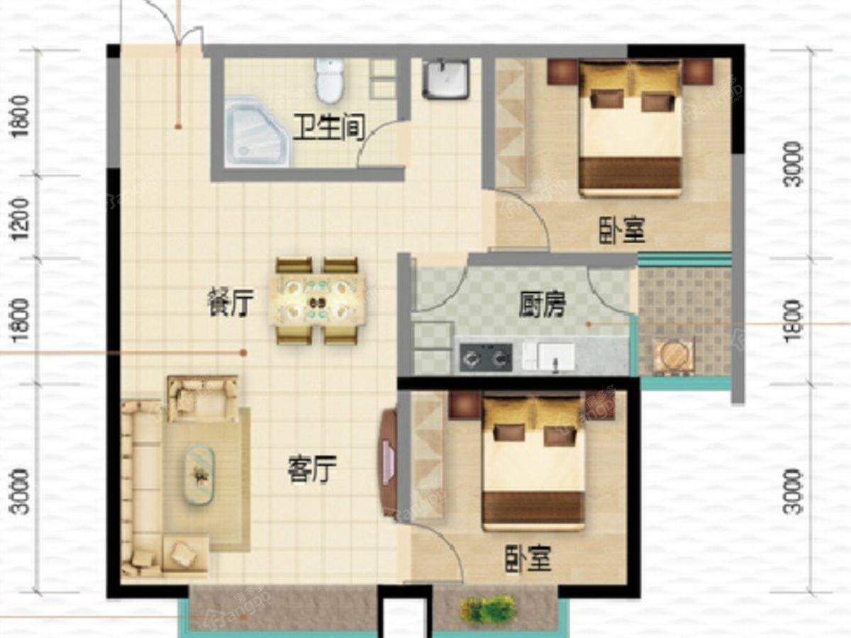 盛世和园2室2厅1卫户型图
