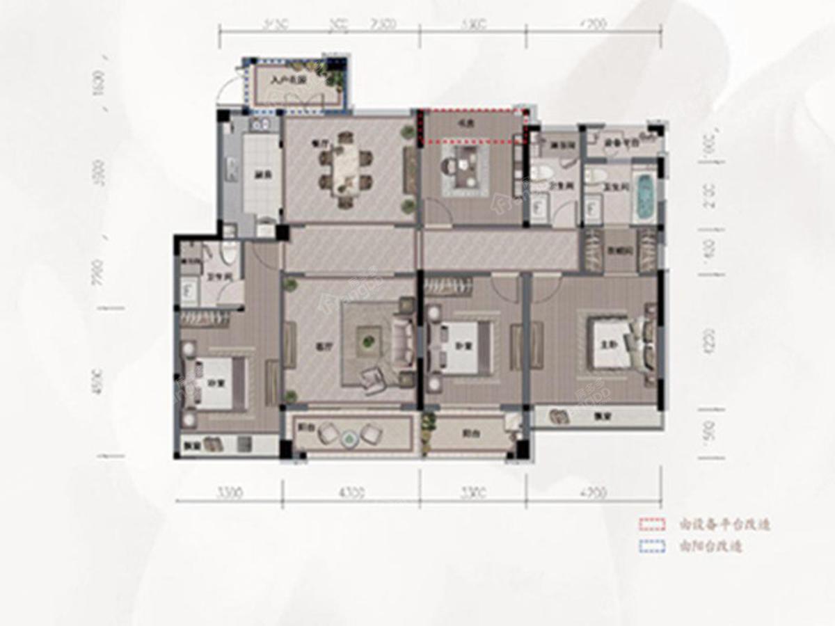 旭辉·光耀城4室2厅2卫户型图