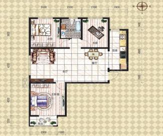 金牛山庄牛津郡3室2厅1卫户型图