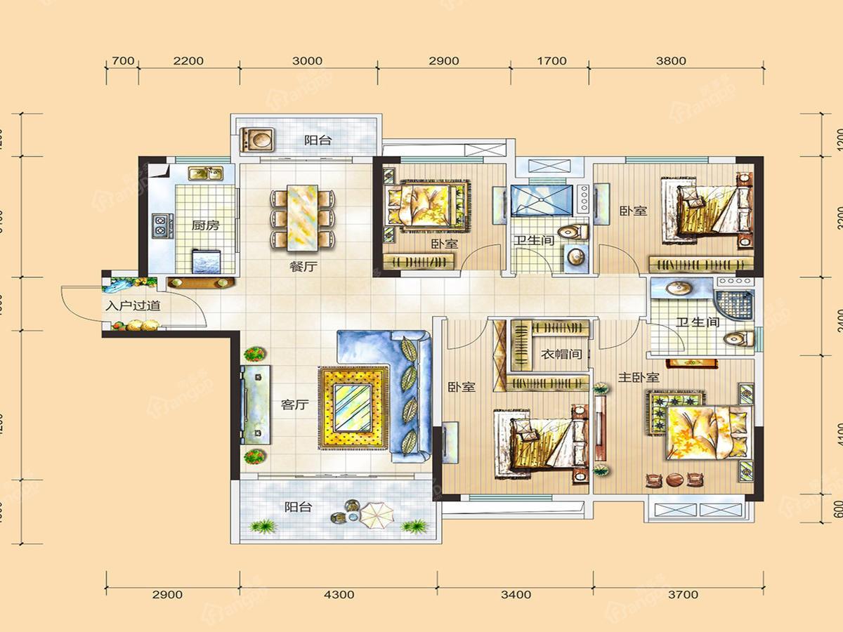 富盈松湖公馆4室2厅2卫户型图