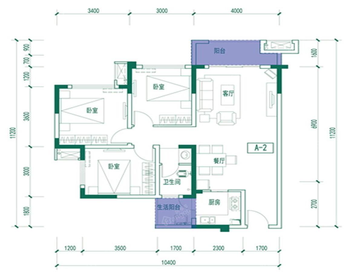 绿城水街3室2厅1卫户型图