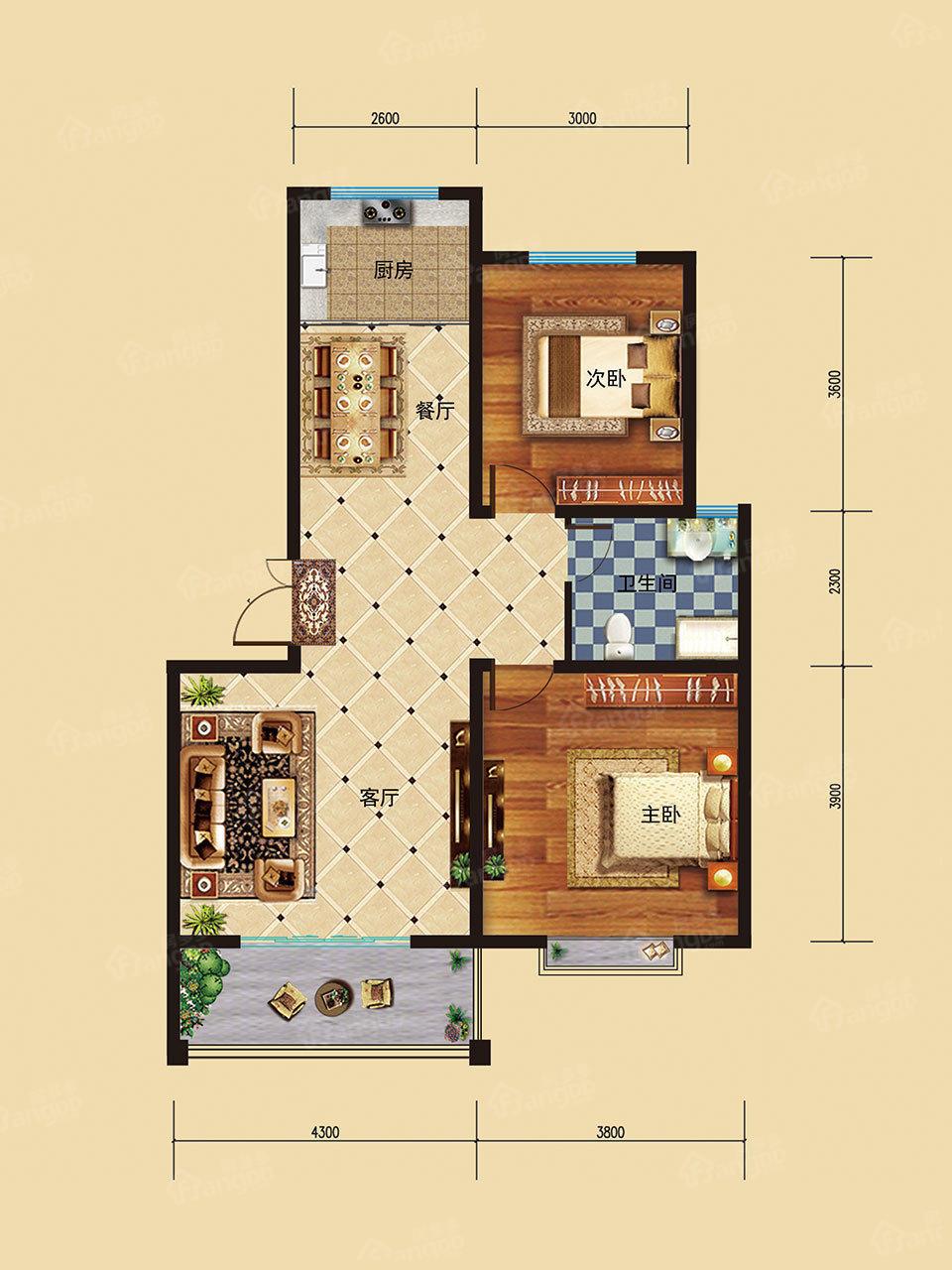 东星·卡纳溪谷2室2厅2卫户型图