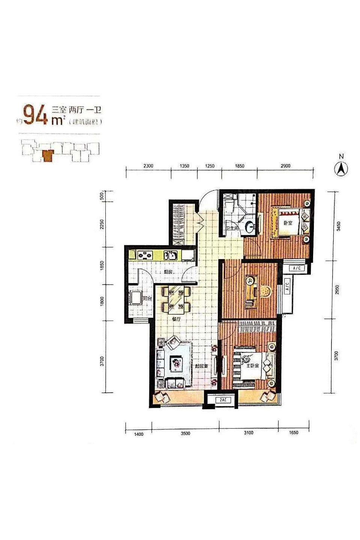 富力新城3室2厅1卫户型图