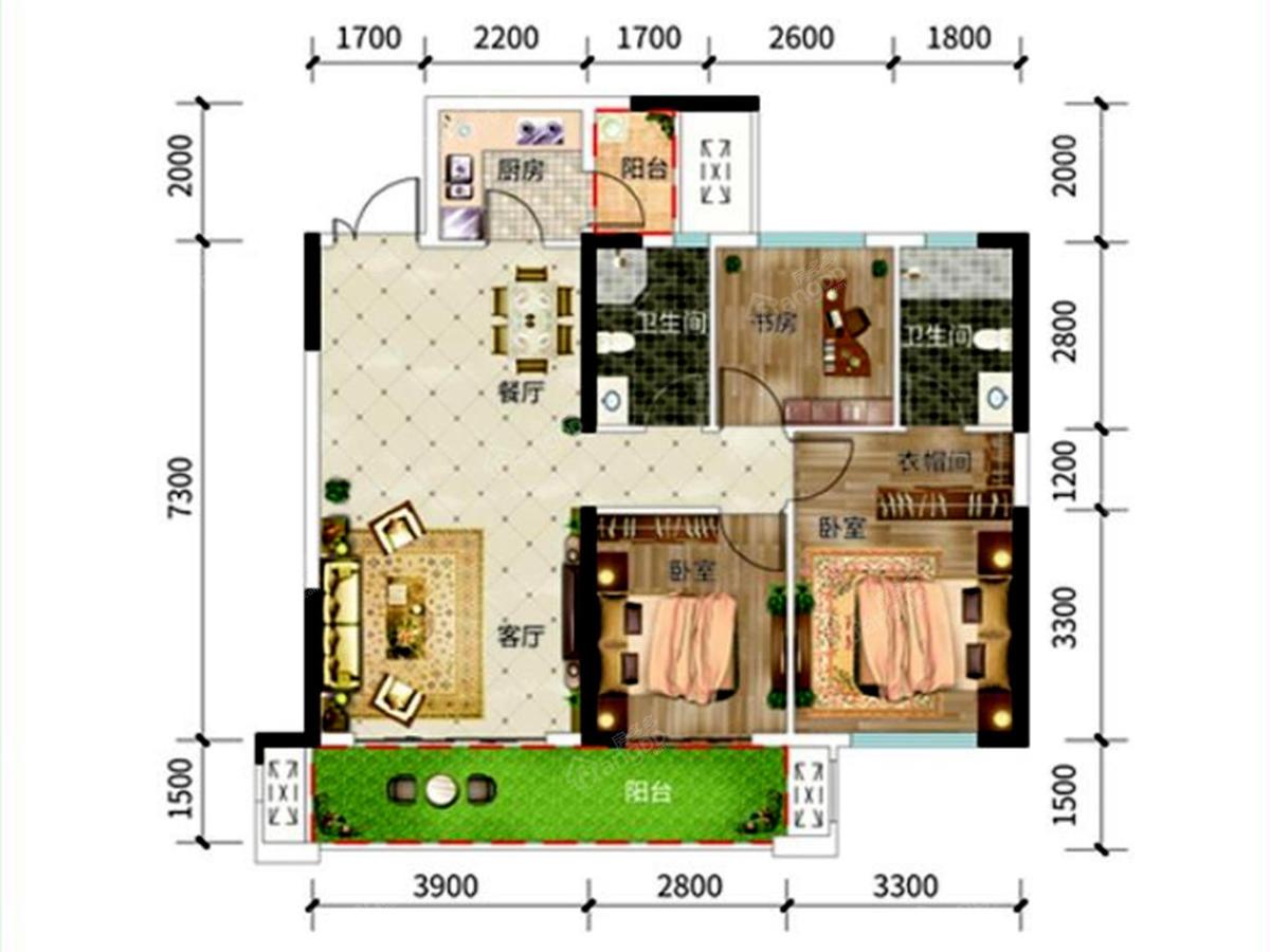 广大城3室2厅2卫户型图
