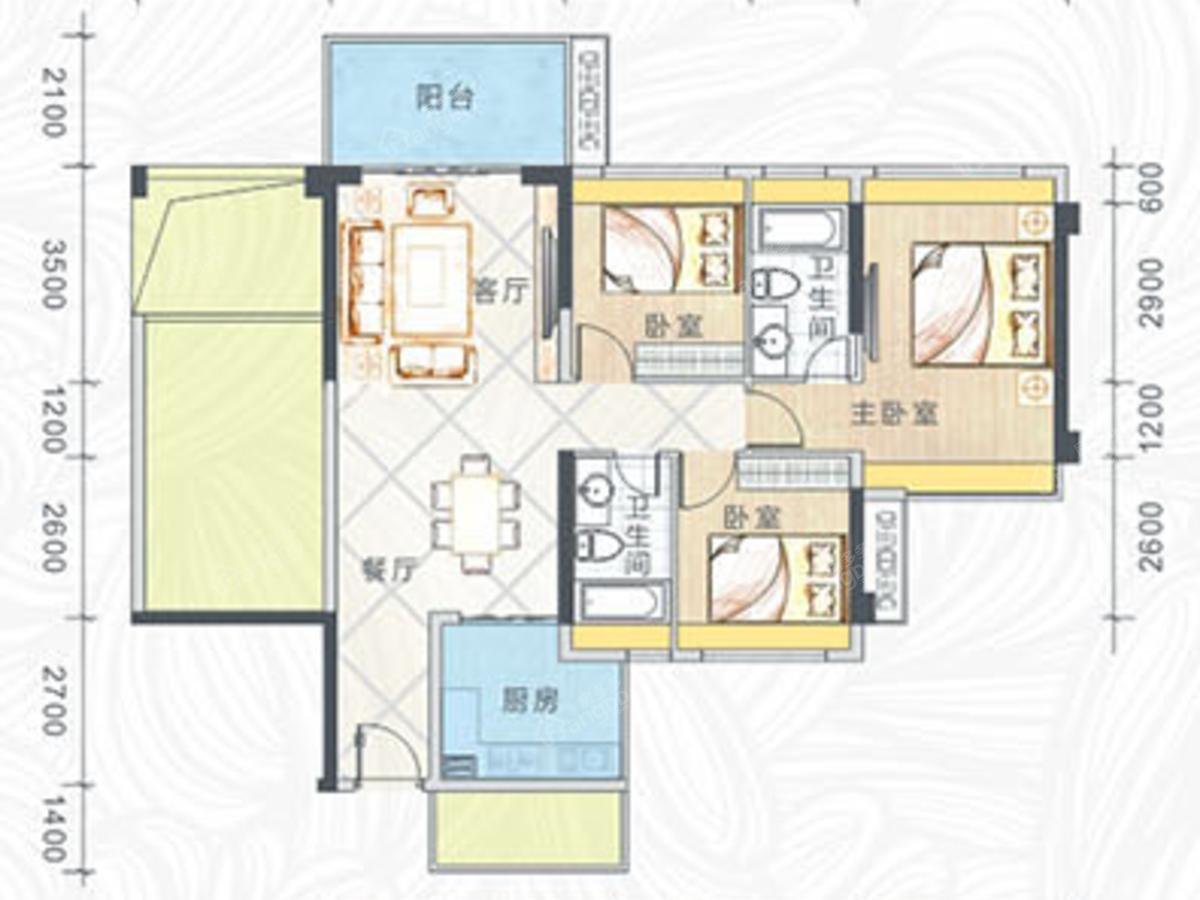 雍豪园 3室2厅2卫