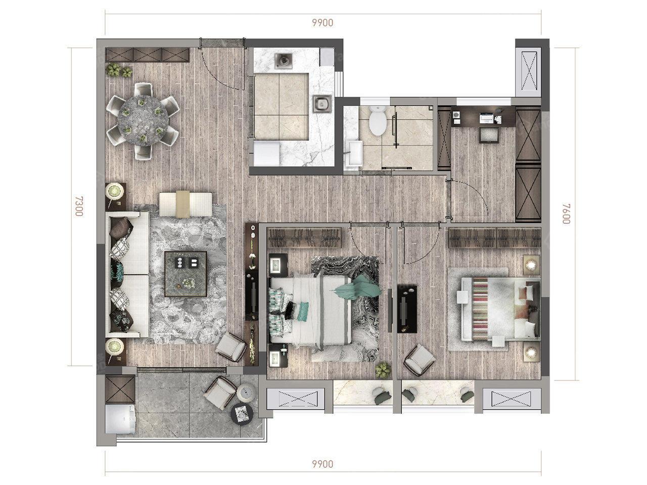 绿地梓湾国际康养度假区3室1厅1卫户型图