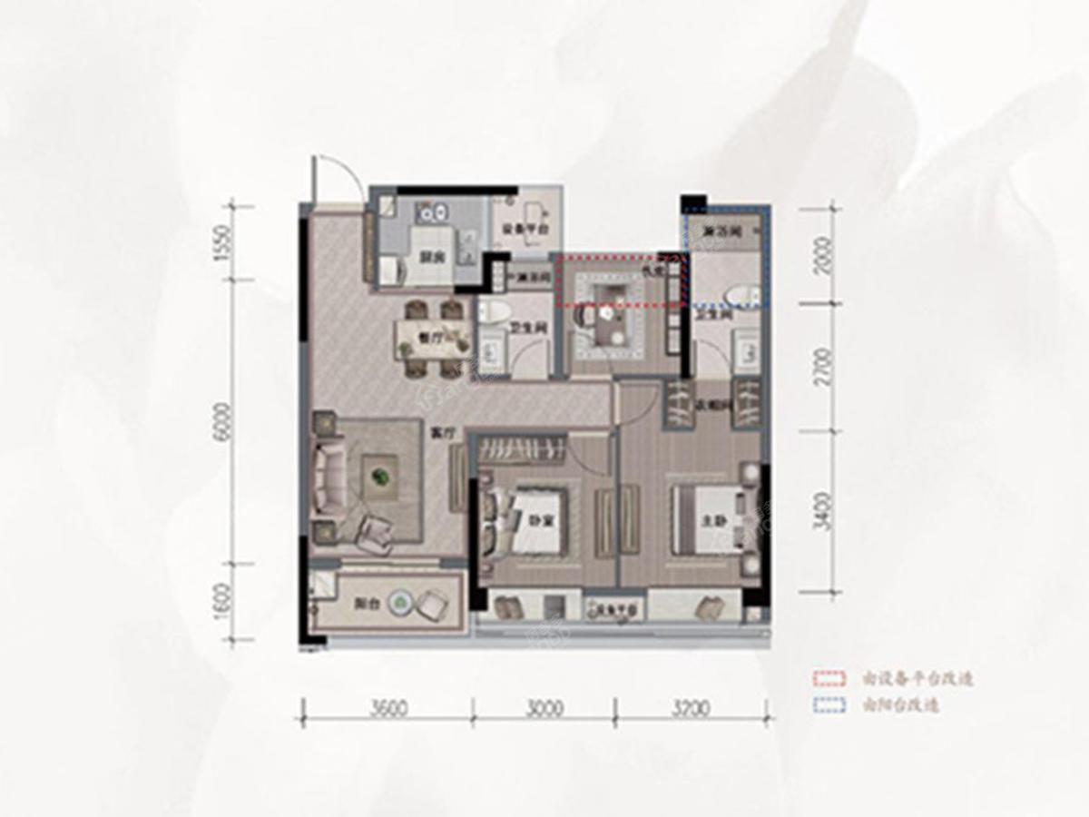 旭辉·光耀城3室2厅2卫户型图