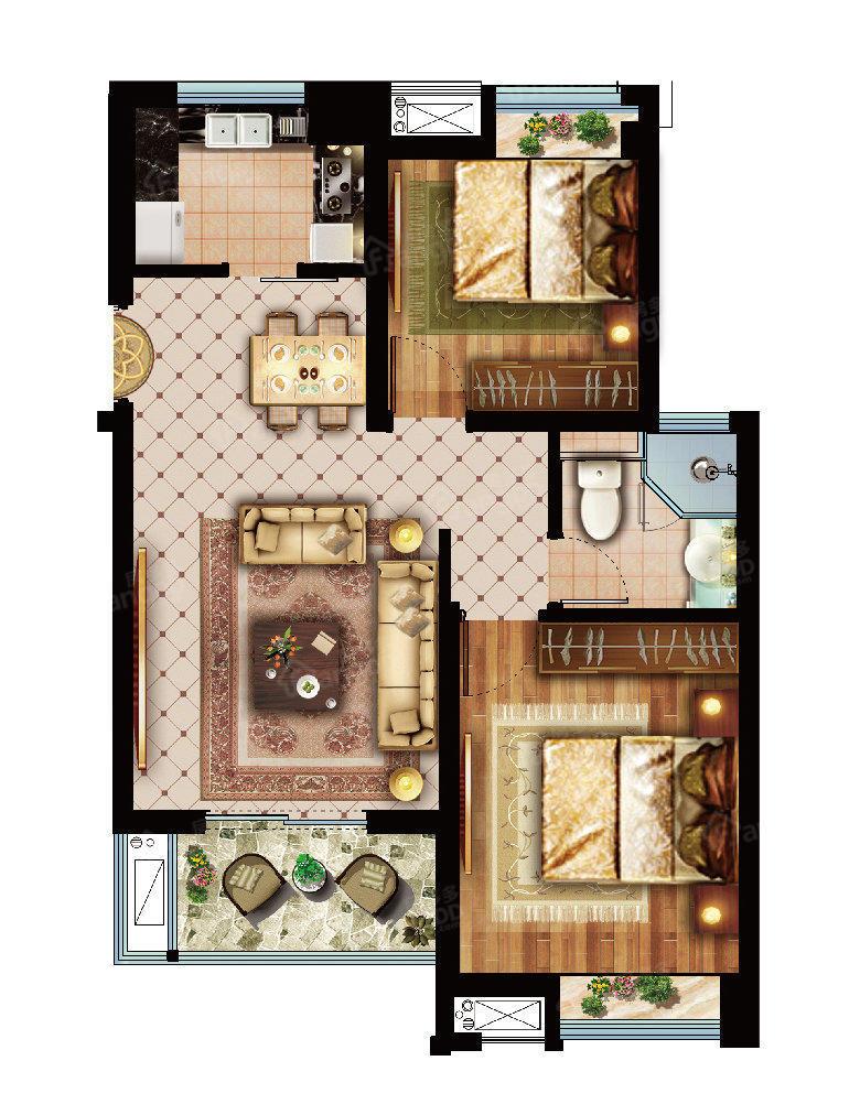 绿地小9窝 2室1厅1卫