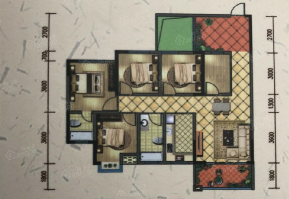 金星天下城4室2厅2卫户型图