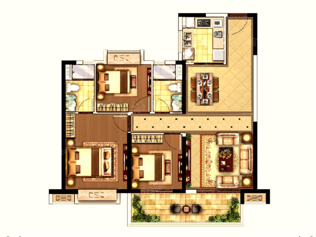 中南江滨悦3室2厅2卫户型图