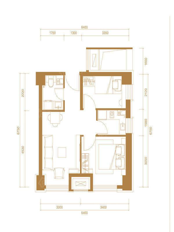 永清融创城2室1厅1卫户型图