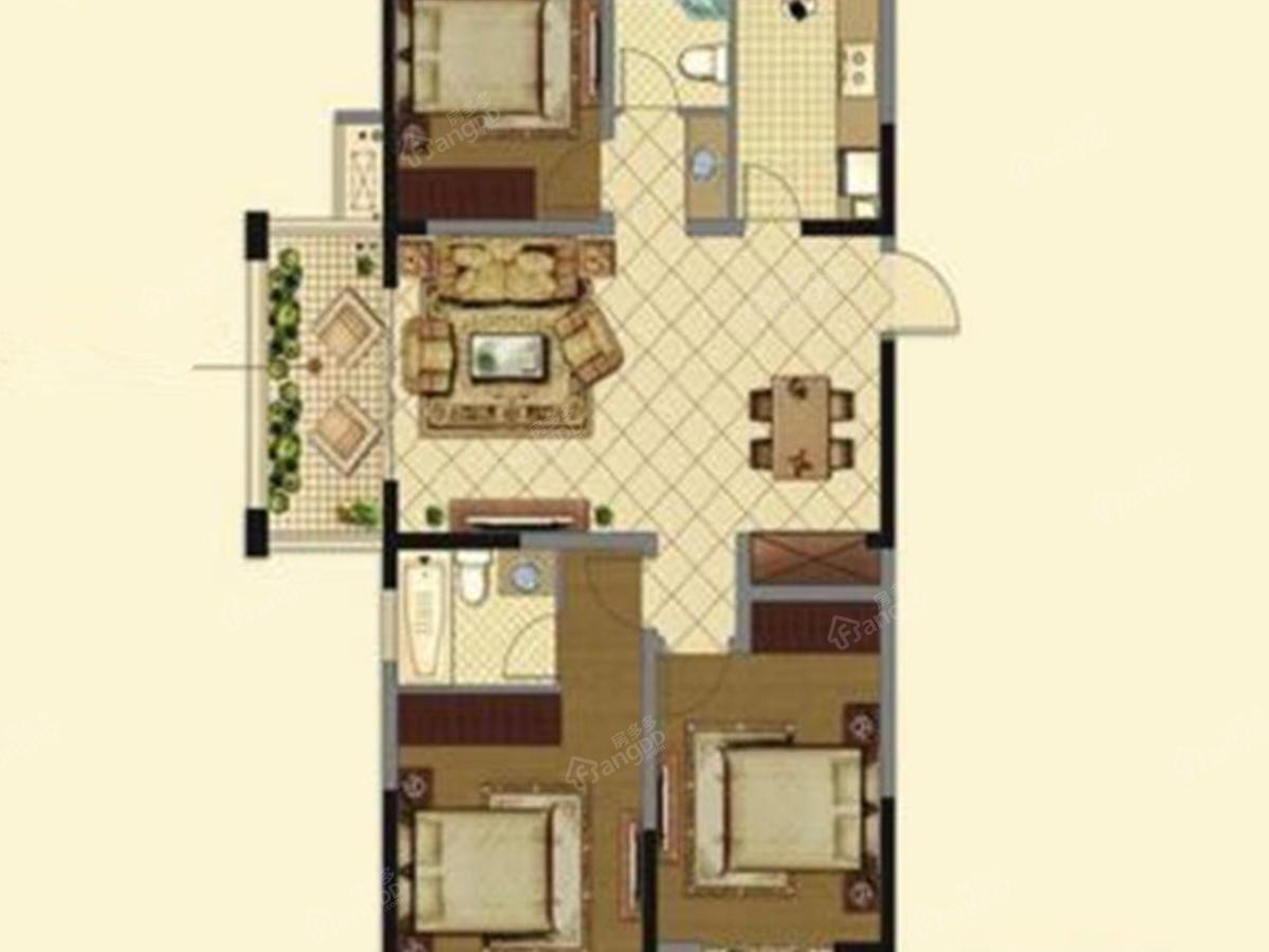 鸿基万和城3室2厅2卫户型图