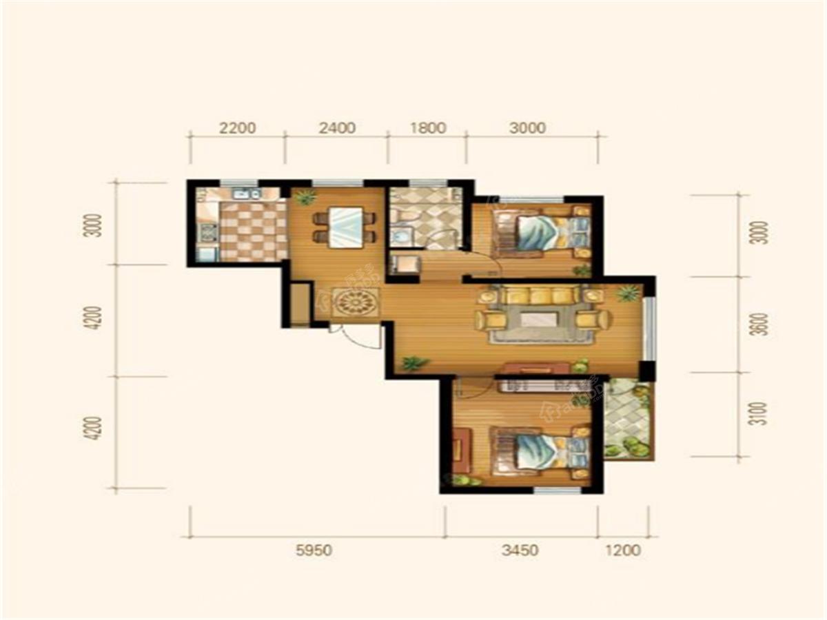 博泰花园2室2厅1卫户型图