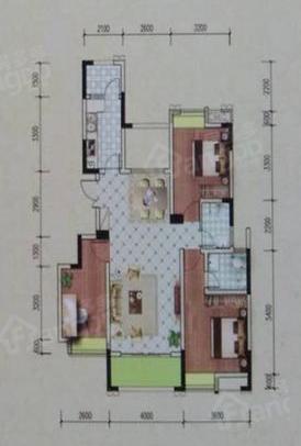 中鼎华城3室2厅2卫户型图