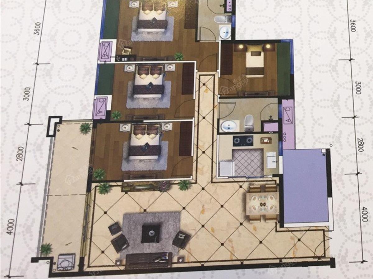吴川海景苑4室2厅2卫户型图