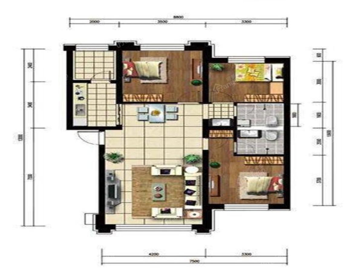 罗马太阳城3室2厅2卫户型图
