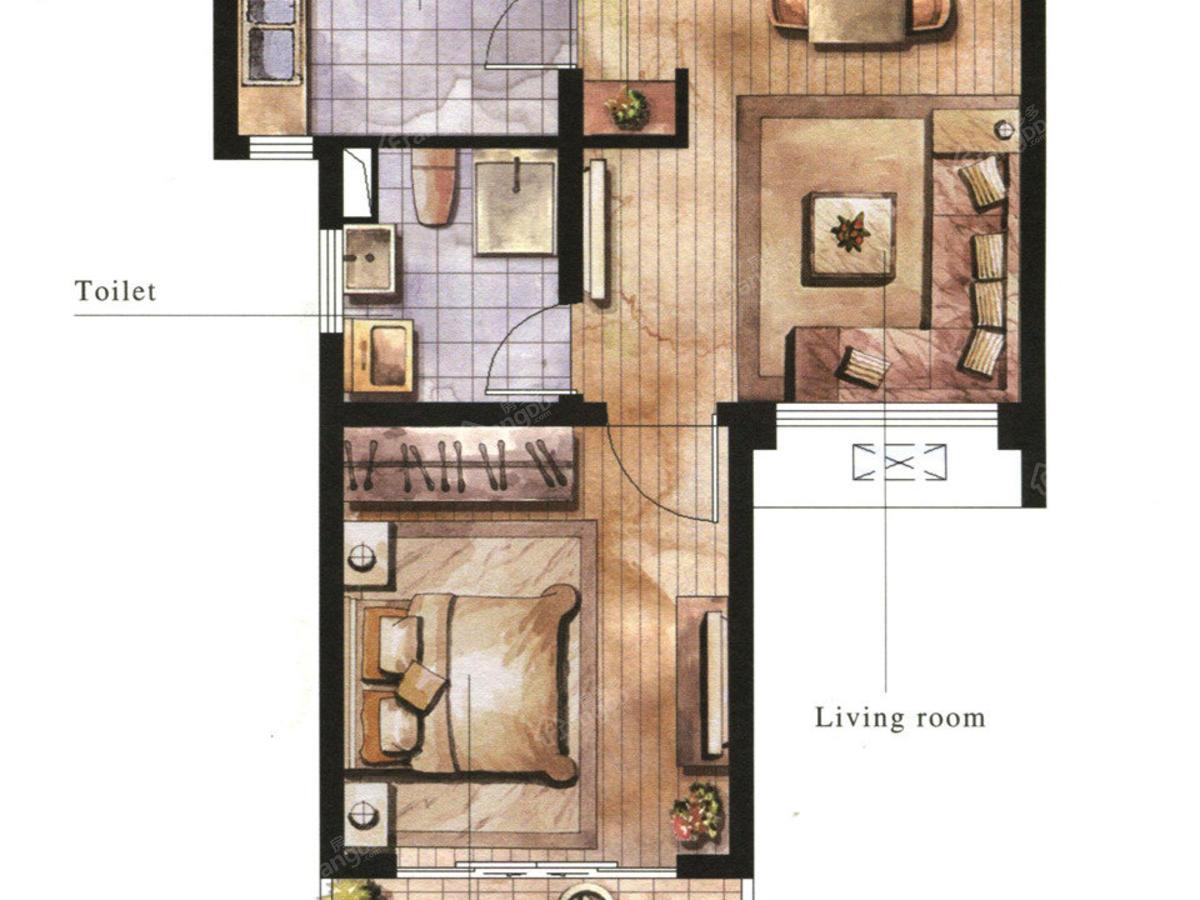 三花现代城 1室2厅1卫