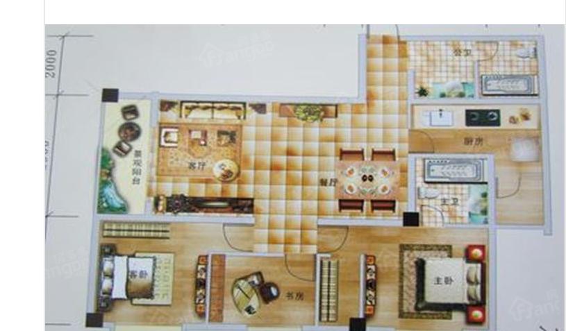 芒市世贸广场3室2厅1卫户型图