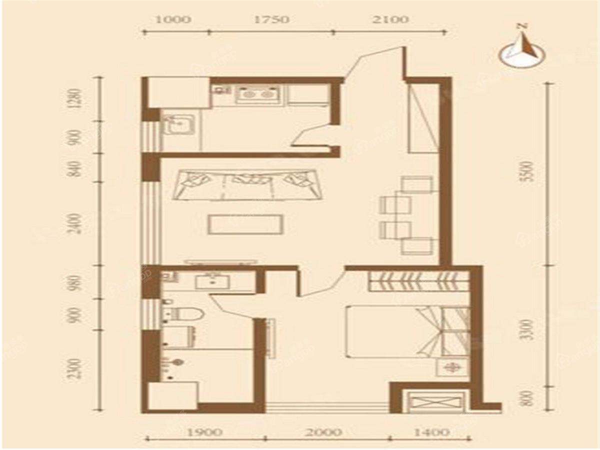 万熹城市广场1室1厅1卫户型图