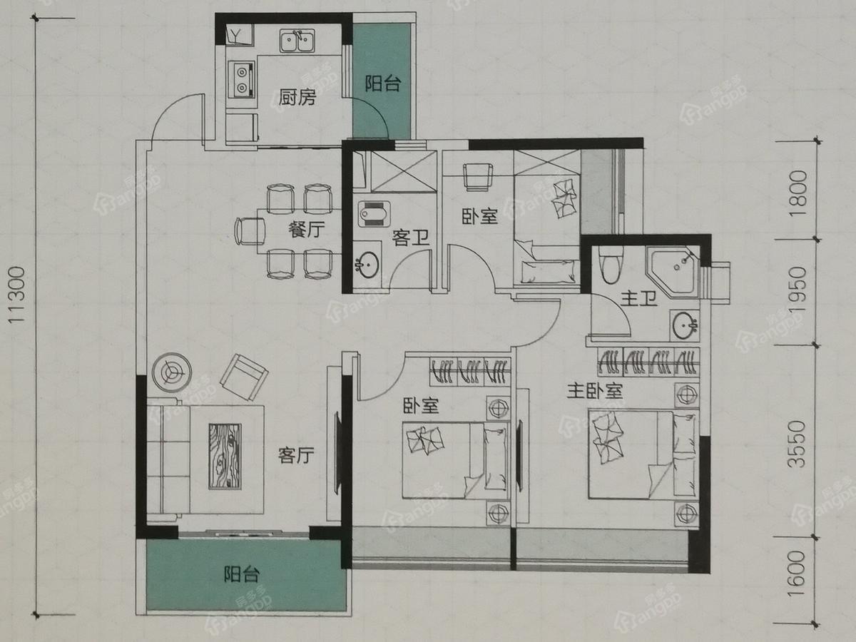 吴川第一城3室2厅2卫户型图