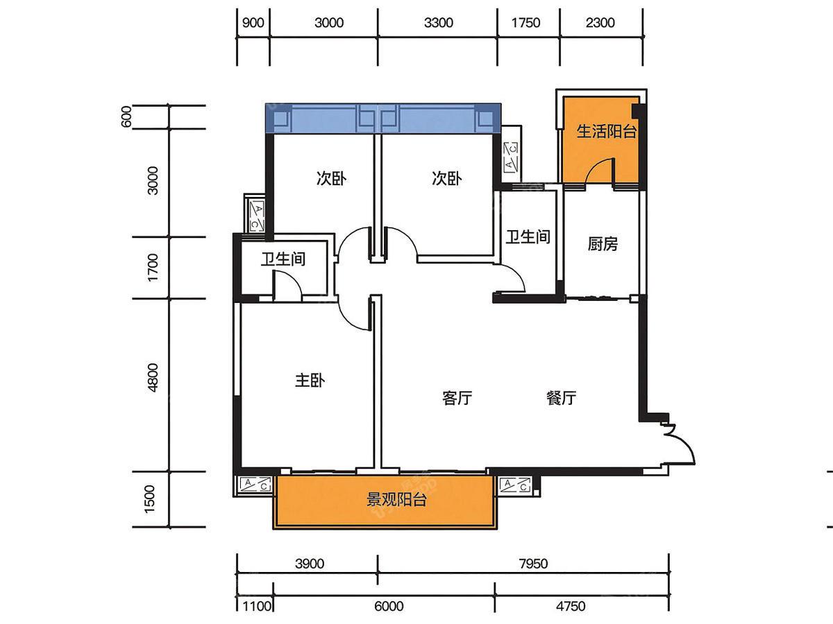 熙山郡3室2厅2卫户型图