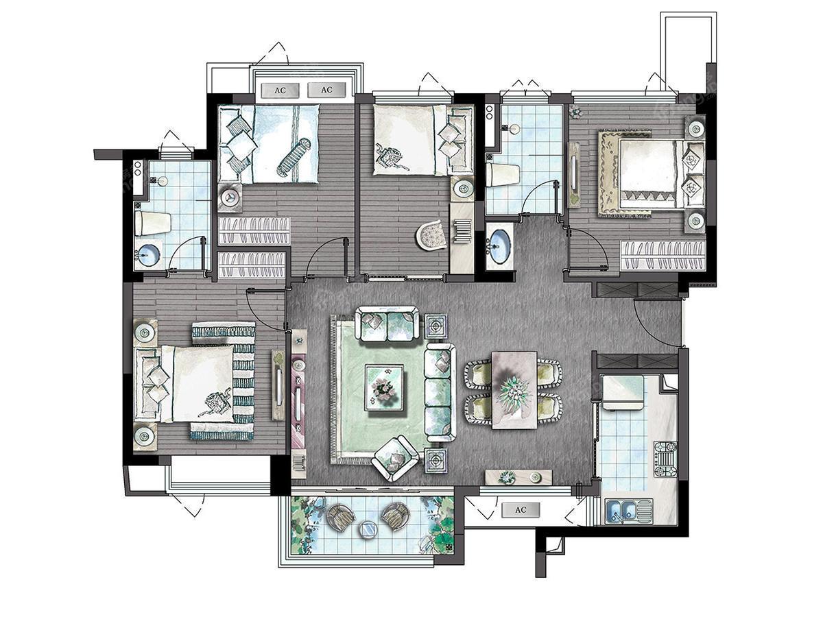万科世茂溪望4室2厅2卫户型图